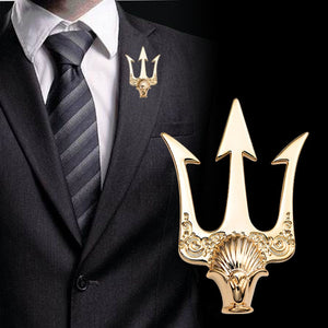 Gold Pitchfork Lapel Pin