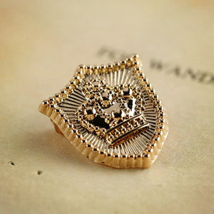 Golden Crown Shield Lapel Pin