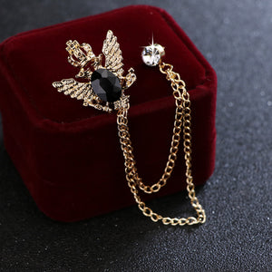 Gold Crown and Wings Lape Pin