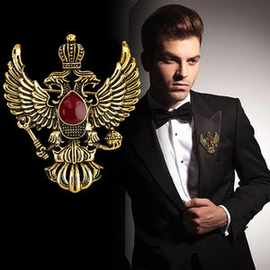 Gold & Ruby Double Eagle Lapel Pin