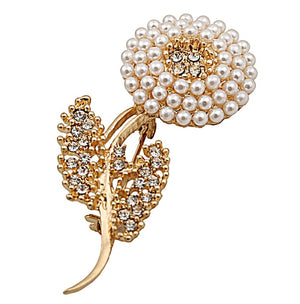 Pearl and Golden Crystal Flower Lapel Pin
