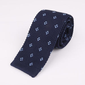 Navy blue knit dotted tie