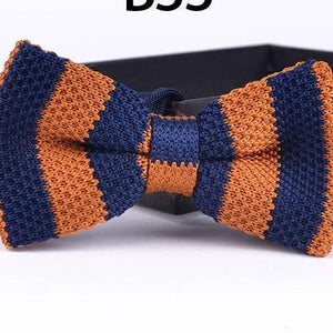 Blue Knit Striped BowTie