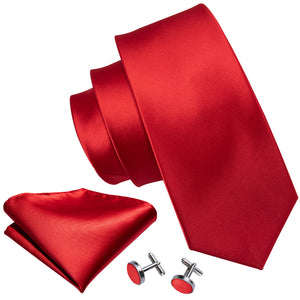 New Wedding Tie Red Solid Fashion
