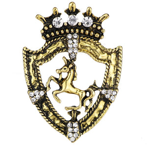 Gold Horse & Crown Lapel Pin