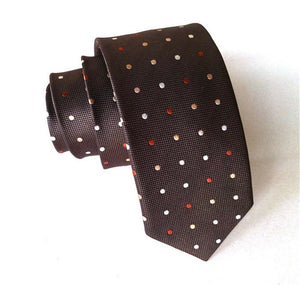 Red & White Dot Silk Men's Tie