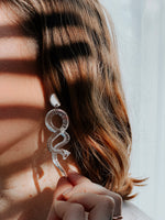 Mirrored Lucite Serpent Earrings