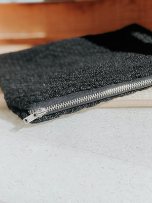 Handwoven Black Zipper Clutch