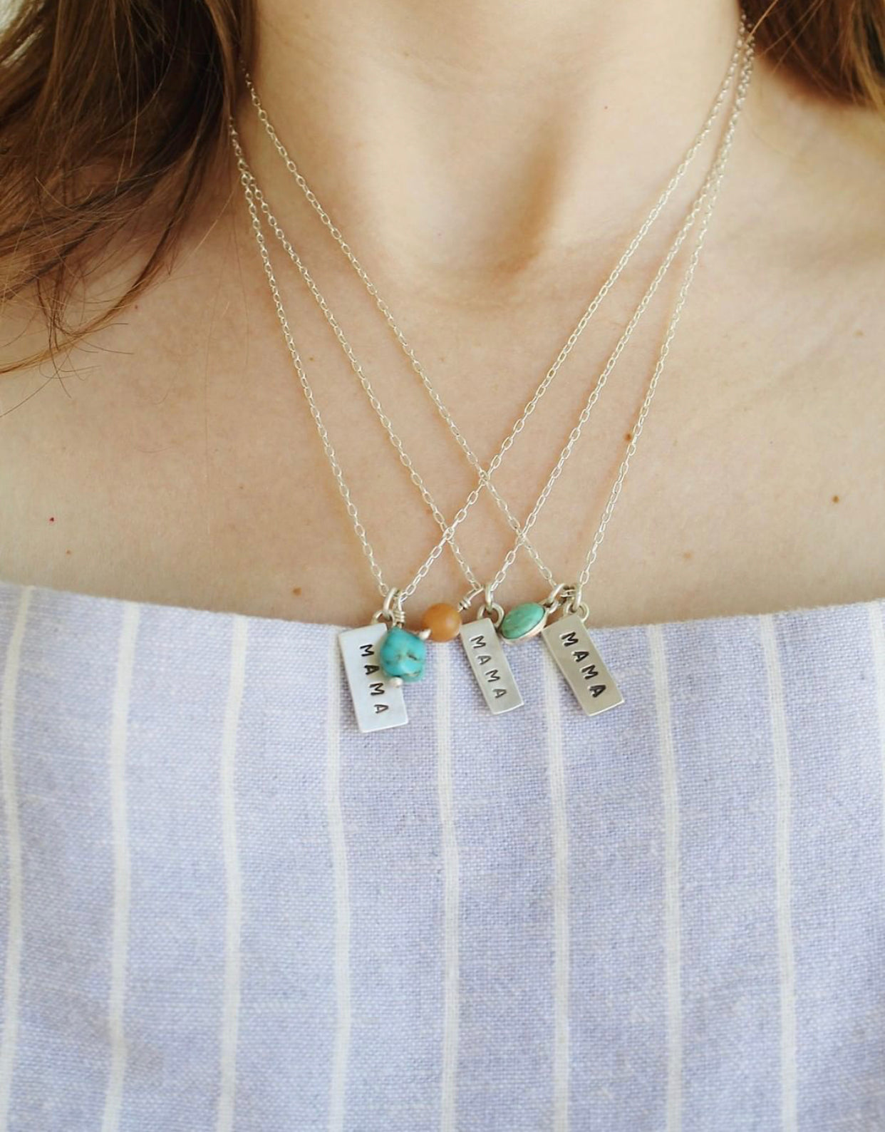 "Hand-stamped Sterling Silver ""Mama"" Necklace"