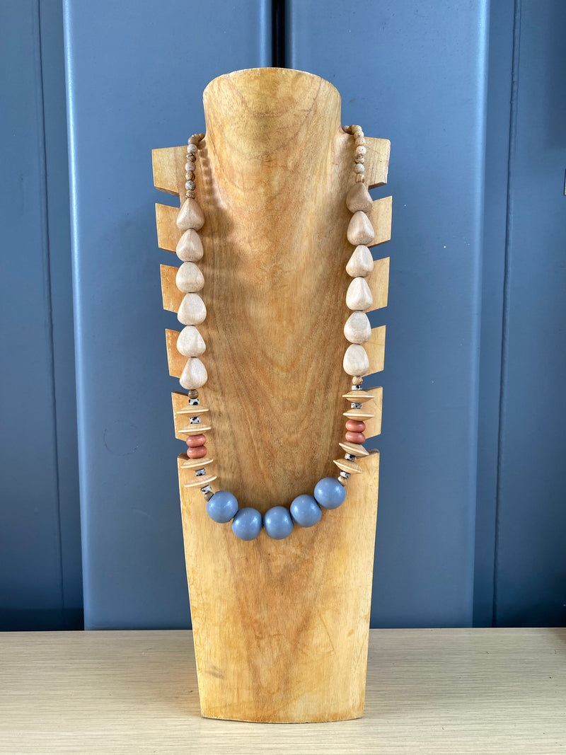Wood and stone bead necklace