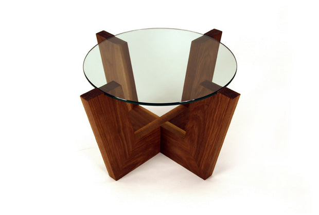 Shown in walnut wood with clear glass