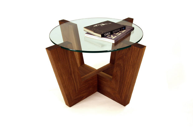 Ablo Coffee Table with round glass top and solid American walnut wood base.