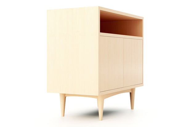 Showing side view of open self 2 door credenza in maple finish.