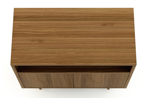 Showing top view of open self 2 door credenza in walnut finish.