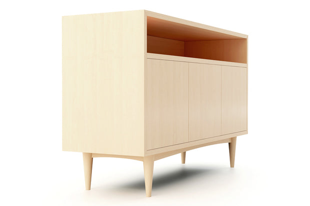 Showing side view of open shelf 3-door credenza in maple finish.
