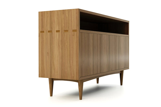 Showing side view of open shelf 3-door credenza in walnut finish.