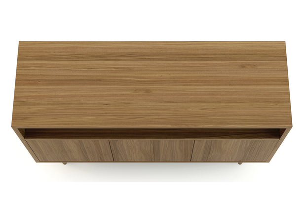 Showing top view of open shelf 3-door credenza in walnut finish.