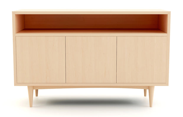 Atten Open Shelf 3-Door Credenza - Maple