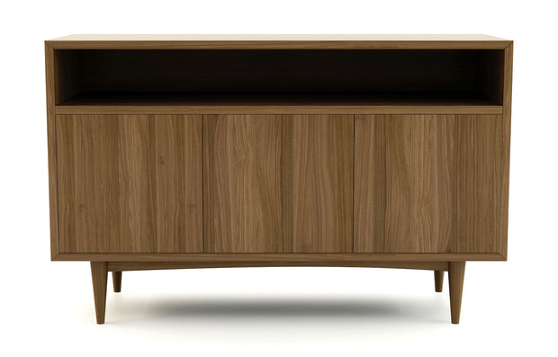 Atten Open Shelf 3-Door Credenza - Walnut