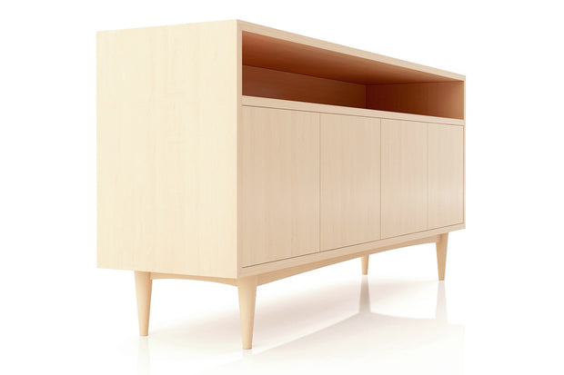 Showing side view of open shelf 4-door credenza in maple finish.