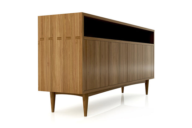Showing side view of open shelf 4-door credenza in walnut finish.