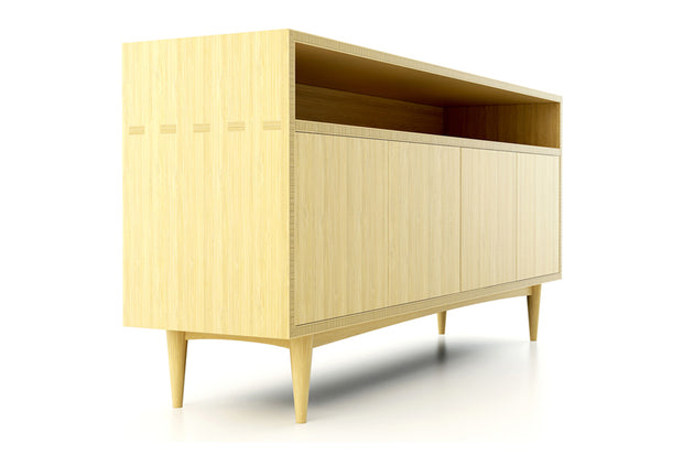 Showing side view of open shelf 4-door credenza in natural bamboo finish.