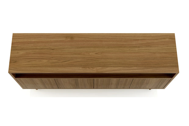 Showing top view of open shelf 4-door credenza in walnut finish.