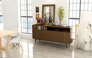 Showing open shelf 4-door credenza in walnut finish into live shot.