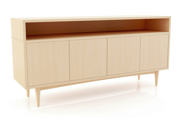 Showing angle view of open shelf 4-door credenza in maple finish.