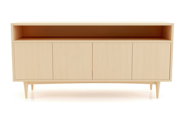 Atten Open Shelf 4-Door Credenza - Maple