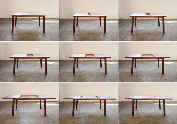 A single leaf extends the table seating from 4 to 8 people.
