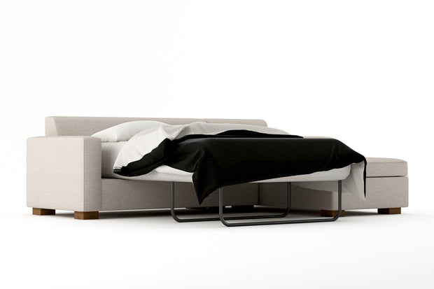 Showing angle view of the Right Full Chaise Sleeper Sectional - Open.