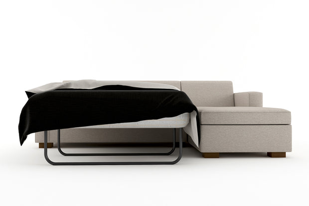 Showing front view of the Right Queen Chaise Sleeper Sectional - Open.