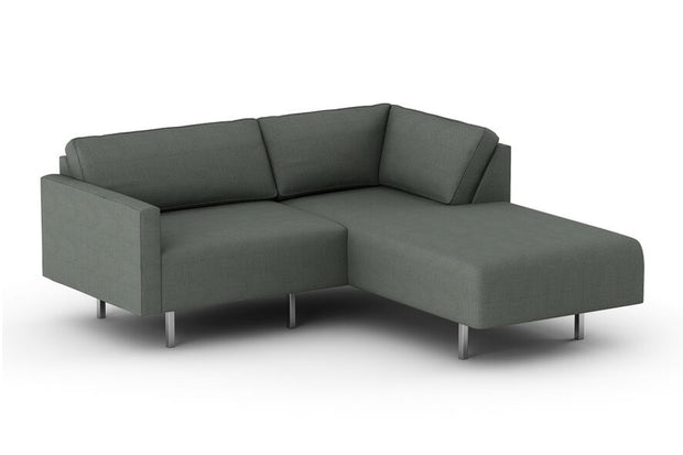 Metz Wedge Sectional in Casablanca Steel fabric.