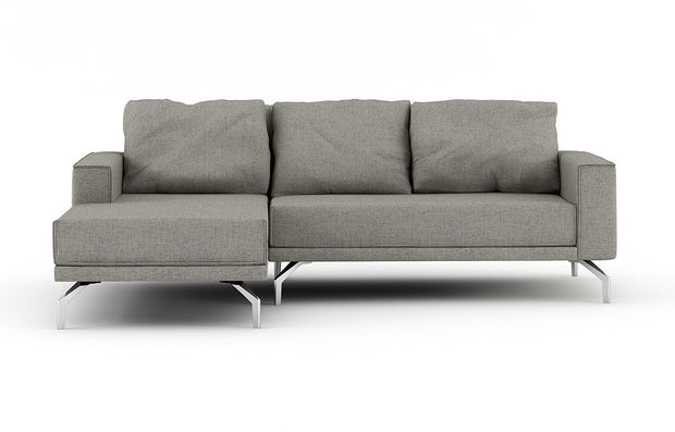 Shown as part of the Miku Apartment Chaise Sectional in Belfast Grey fabric.