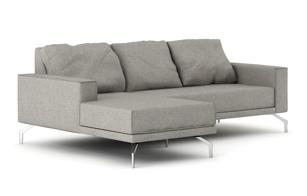 Showing side view of the Miku Apartment Chaise Left Sectional.
