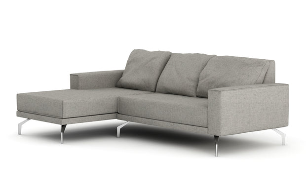 Showing front view of the Miku Apartment Chaise Left Sectional.