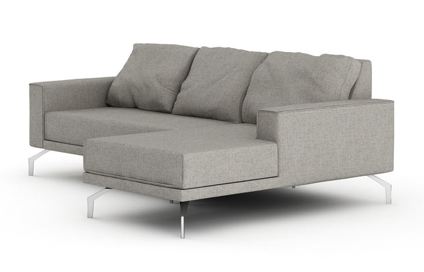 Showing side view of the Miku Apartment Chaise Right Sectional.