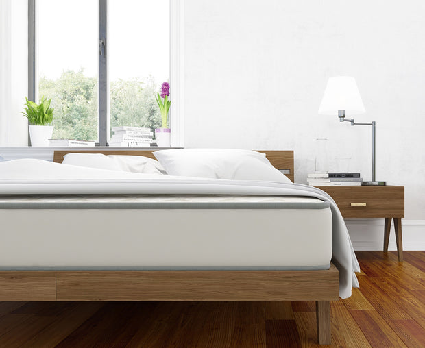 The Stem Latex Mattress on our Palder Bed with nightstands.