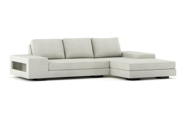 Showing angle view of the right chaise sectional in black legs.