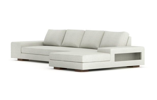 Showing angle view of the right chaise sectional xl in cafe legs.