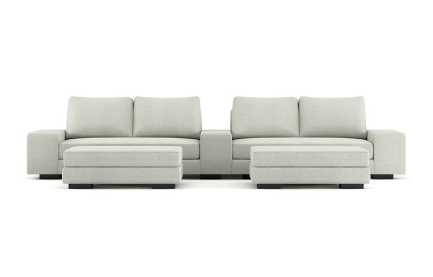 Showing front view of the Cinema Sofa with Ottomans in black legs.