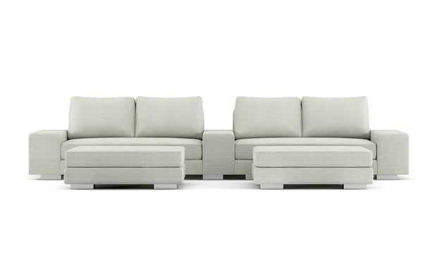 Showing front view of the Cinema Sofa with Ottomans in quinncy legs.