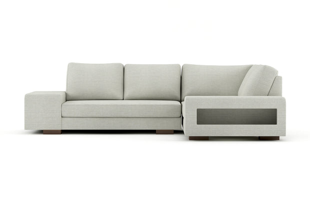 Showing front view of the right L Sectional in cafe legs.