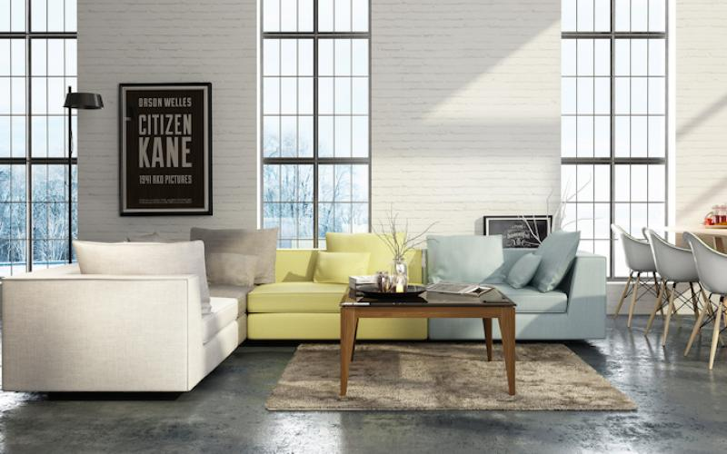 Modern living room with sectional sofas and wooden center table