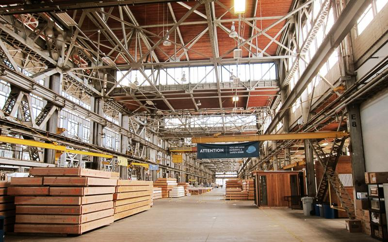 Inside the Blu Homes factory on Mare Island in Vallejo, CA.