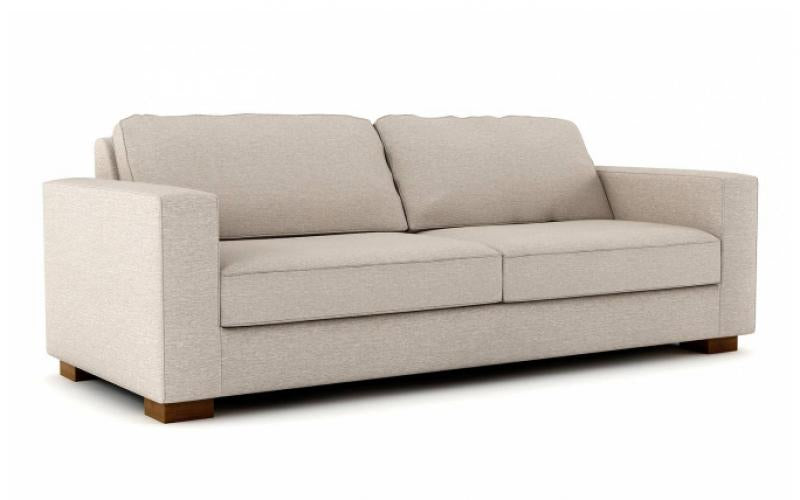 Luxurious Rio Sofa in Customizable Upholstery and Block Legs.