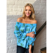 Blue Palms Off Shoulder Top