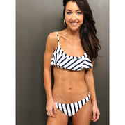 Stripe Ruffle Scoop Neck Bikini Top