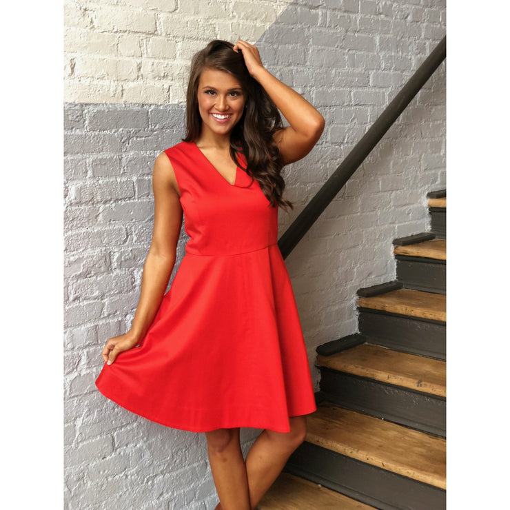 Solid V Love Circle Dress